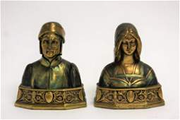 Pair of Pompeian Figural Bronze Bookends