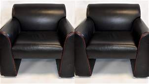Pair of 20thC. Modern Italian Leather Club Chairs