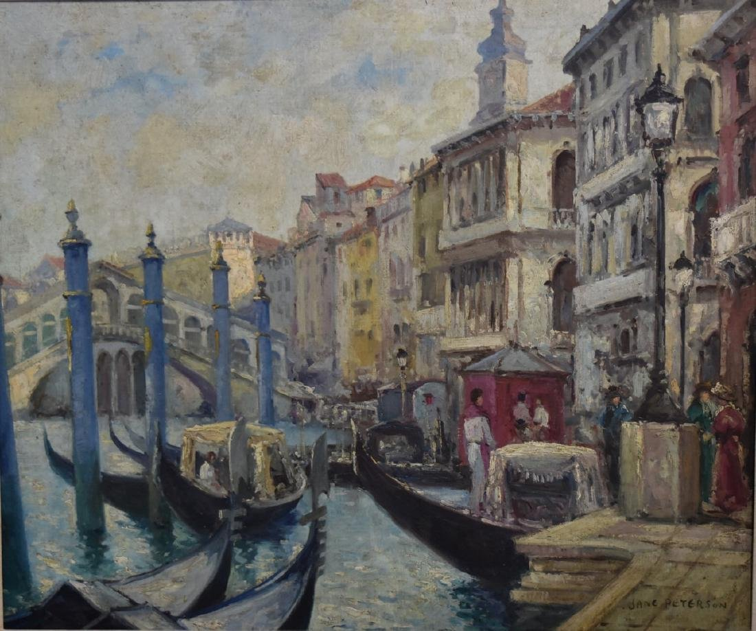 Jane Peterson; Oil -  A Venice Canal Signed