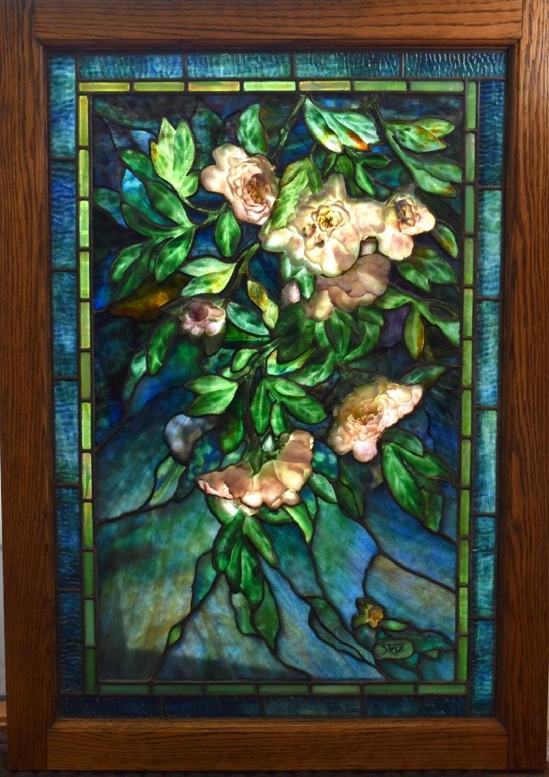 Steven Stelz Pate de Verre Leaded Glass Window Signed