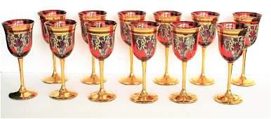 Set of Twelve12 24K Gold Venetian Glass Goblets