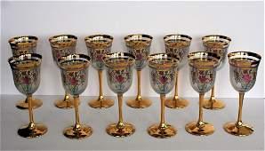 Set of Twelve12 22K Gold Venetian Glass Goblets