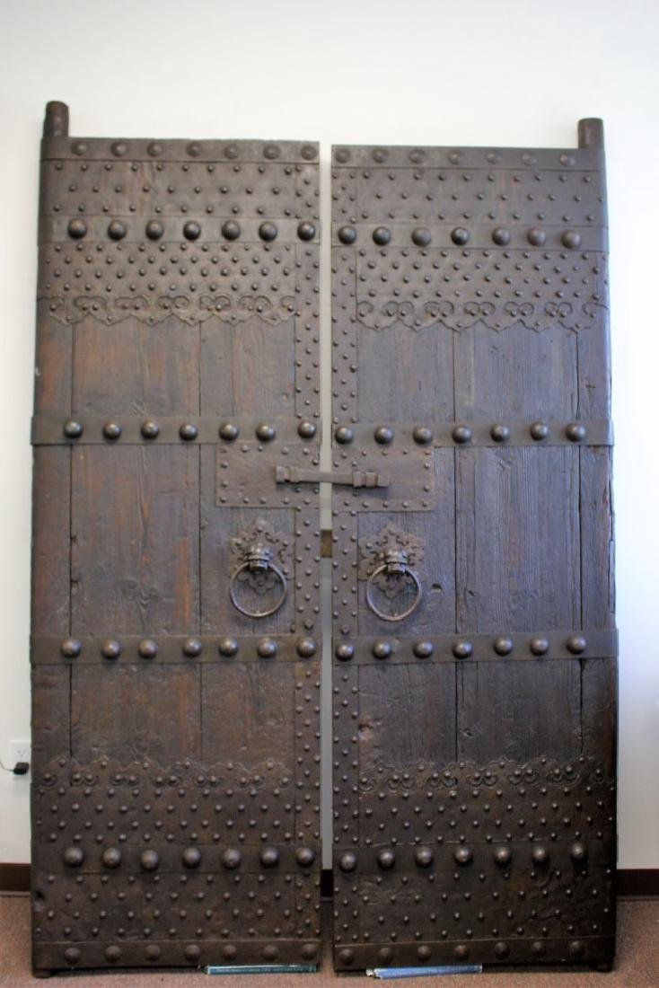 Pair of Early Chinese Wood and Iron Temple Doors