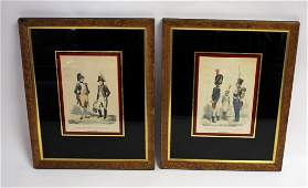 Pair of 19thC. Hand Colored Military Engravings