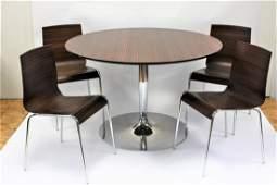 Calagaris Five(5) Piece Modern Zebra Wood and Chrome