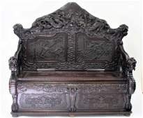 19thC Chinese Heavily Carved Rosewood Hall Bench