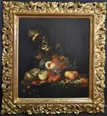 18thC. Dutch School; Oil Still Life - Fruit and Table
