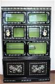 Chinese Lacquered and Mother of Pearl Cabinet