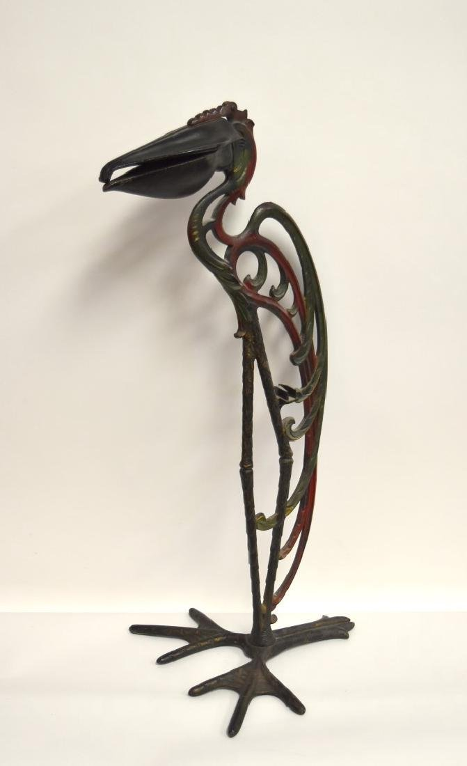 Victorian Painted Iron Pelican Smoking Stand