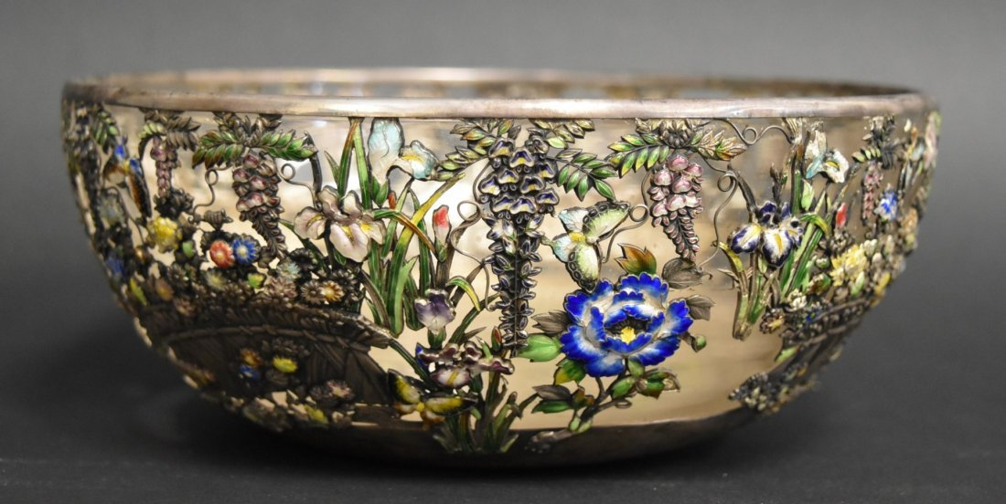 19thC. Japanese Enameled Silver and Glass Bowl