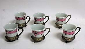 Set of Six(6) Porcelain amd Silverplate Chocolate Cups