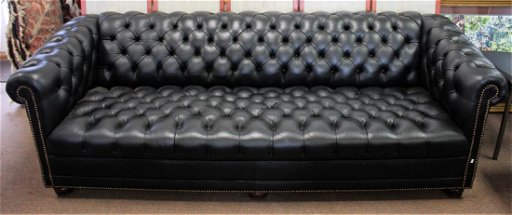 Chesterfield Black Leather Tufted Sofa