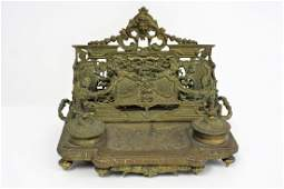 Victorian Bronze Double inkwell Letter Holder