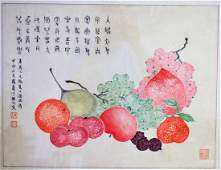 Early 20thCChinese Watercolor  Still Life with Fruit