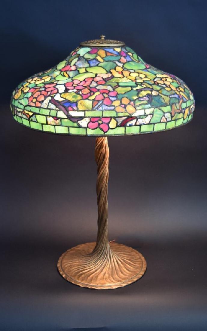 Tiffany Studios Nasturium Leaded Glass Lamp Signed