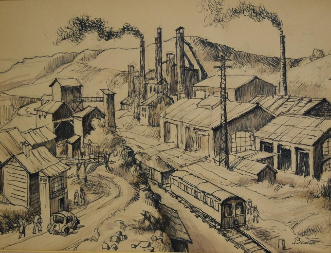 Thomas Hart Benton; 20thC. American Ink Drawing Signed