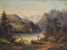 Victor De Grailly(attributed to); 19thC. Oil - On Lake