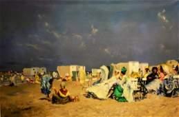 20thC. French School; Oil - Beach Scene