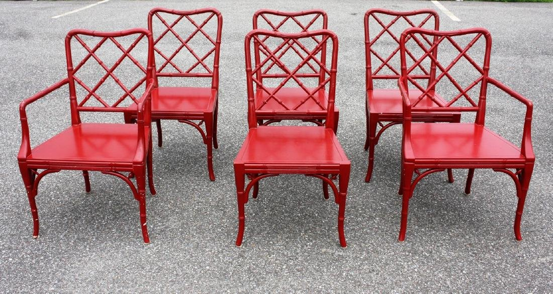 red lacquered furniture. set of six6 chinese red lacquered chairs furniture