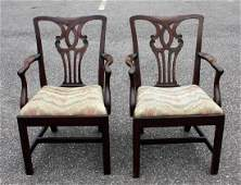 Pair of Chippendale RibbonBack Mahogany Armchairs