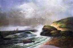 Hadley 19thC Pastel Seascape Signed