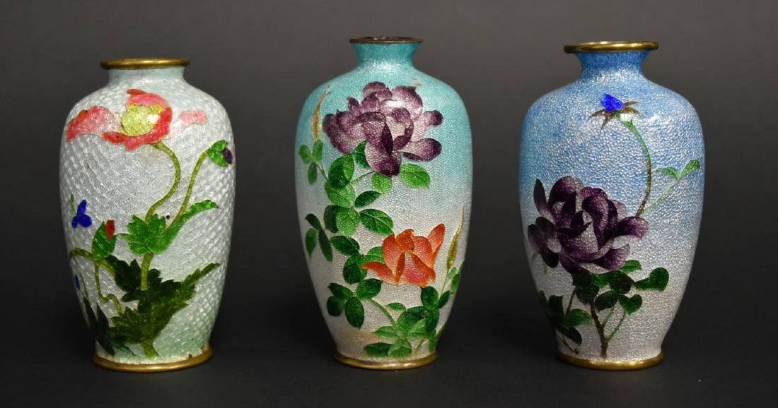 Three(3) Japanese Cloisonne Cabinet Vases
