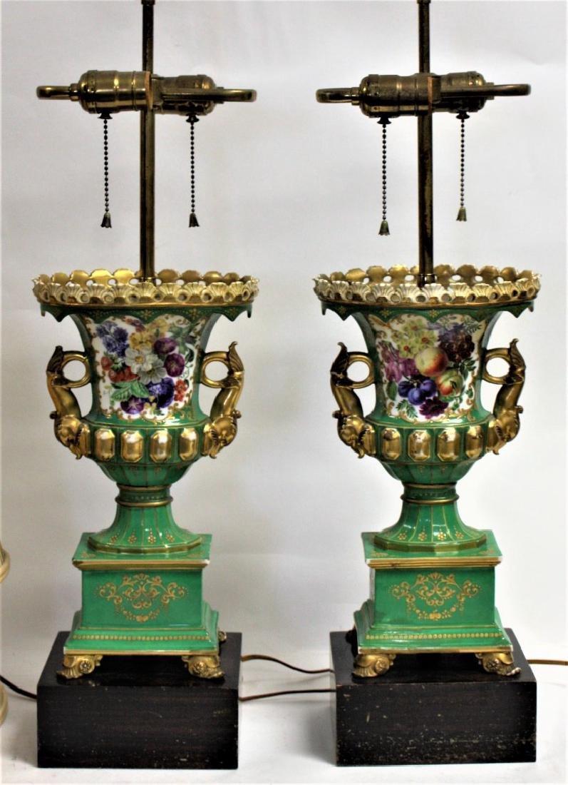 Pair of Old Paris Porcelain Urn Lamps