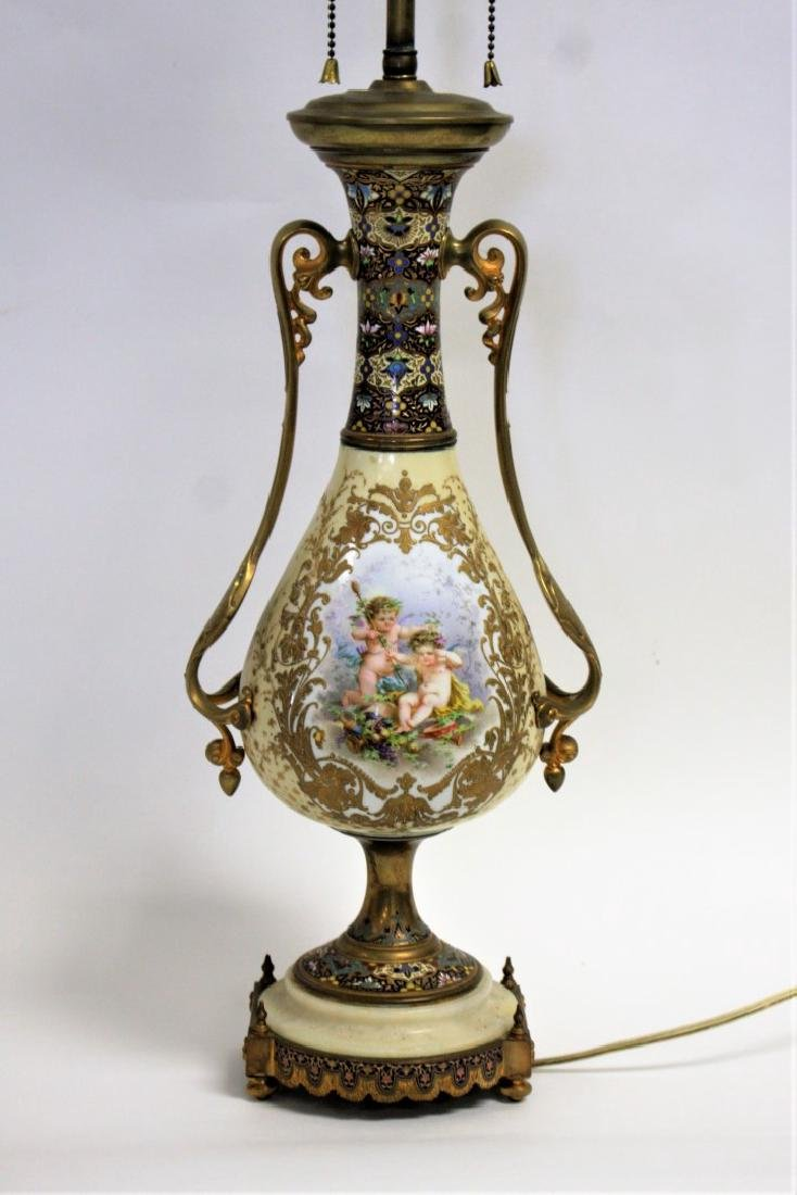 French Porcelain and Enameled Urn Lamp