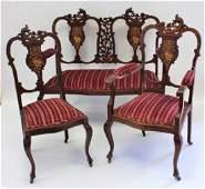 Victorian Three(3) Piece Mahogany Parlor Suite