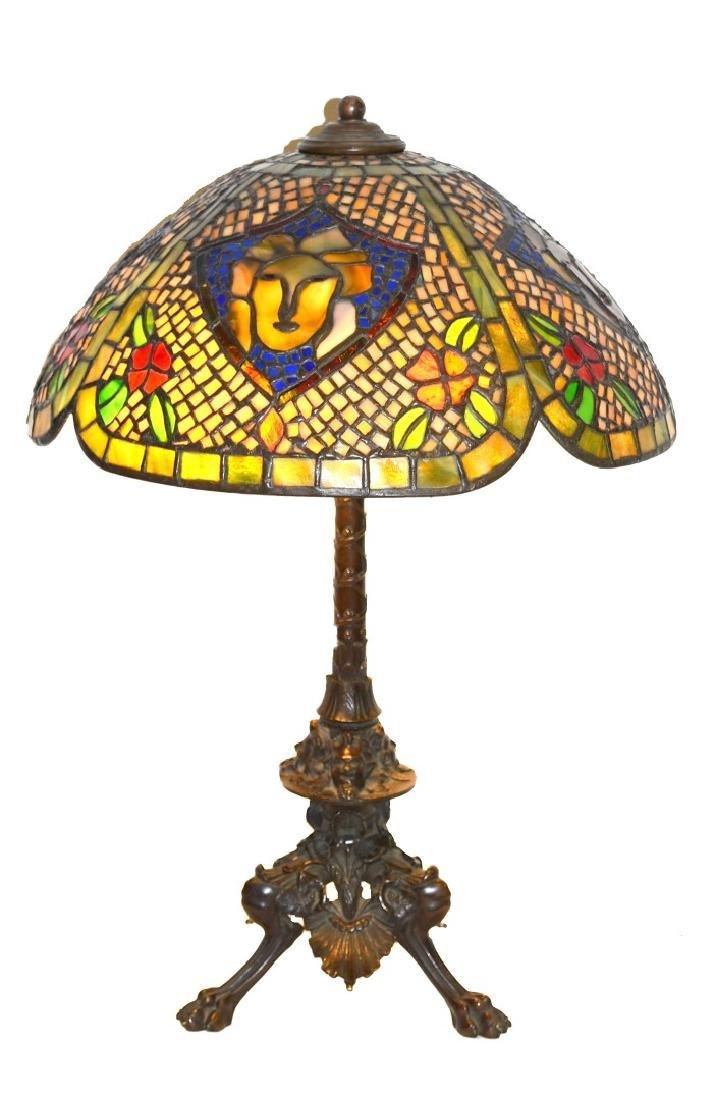 Oscar Bach Leaded Glass Table Lamp