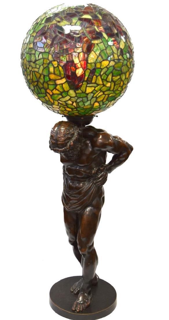 Rare Handel Leaded Atlas Lamp