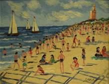 Samuel Rothbort; 20thC. American Oil Beach Scene Signed