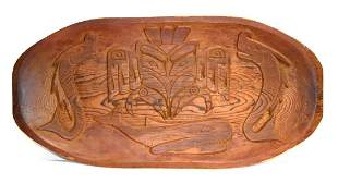 Early Peruvian Hand Carved Wood Tray