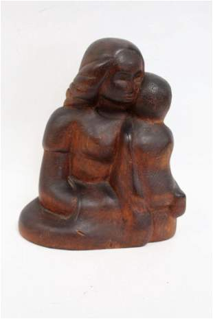 20thC American School Wood Carving Signed