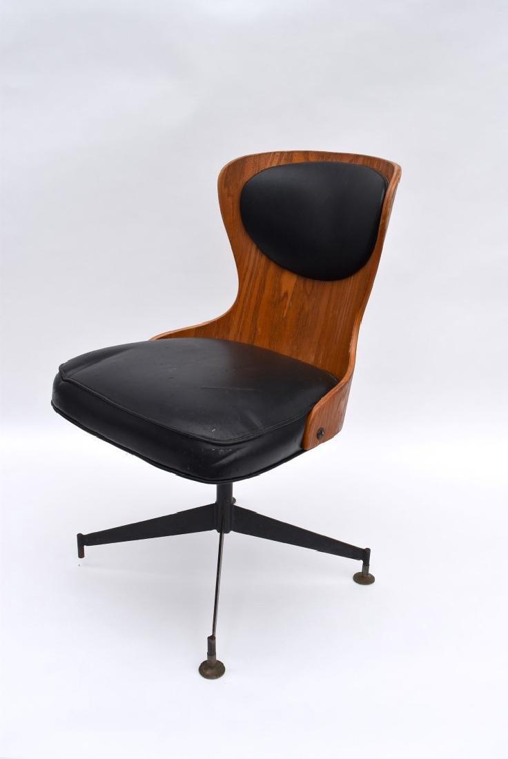 Danish Modern Laminated Wood Swivel Chair