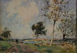 Paul Emile Lecomte French Watercolor Landscape Signed
