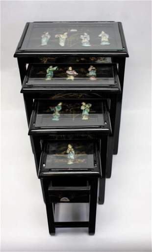 Set of Chinese Black Lacquered Inlaid Nesting Stands
