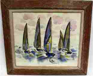 Homer Pfeiffer 20thC Modernist Watercolor Signed