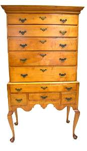 New England Queen Anne Period Curly Maple Highboy