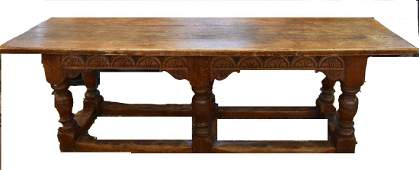 18thC Italian Baroque Carved Oak Refectory Table