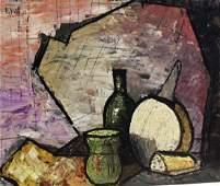 Vialle; 20thC. French Modernist Oil Still Life Signed
