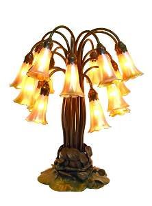 Tiffany Studios 18-Light Bronze and Glass Lily Lamp