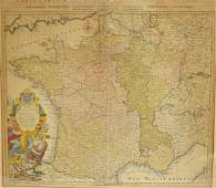 Early Hand Colored Map of France