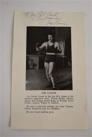 Joe Gainor Autographed Advertisement