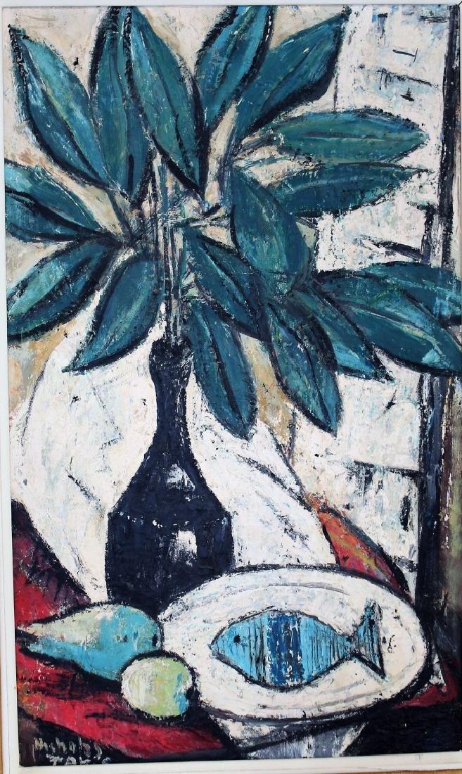 Nicholas Takis; 20thC. Modernist Oil Still Life Signed