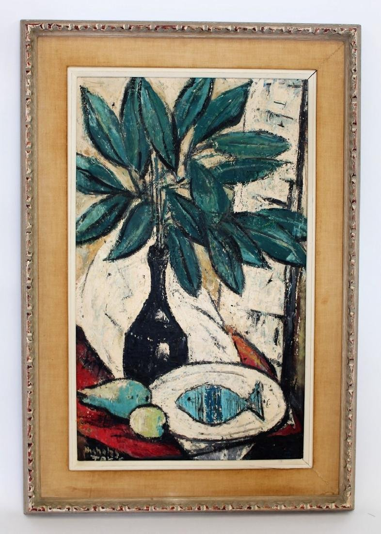 Nicholas Takis; 20thC. Modernist Oil Still Life Signed - 2