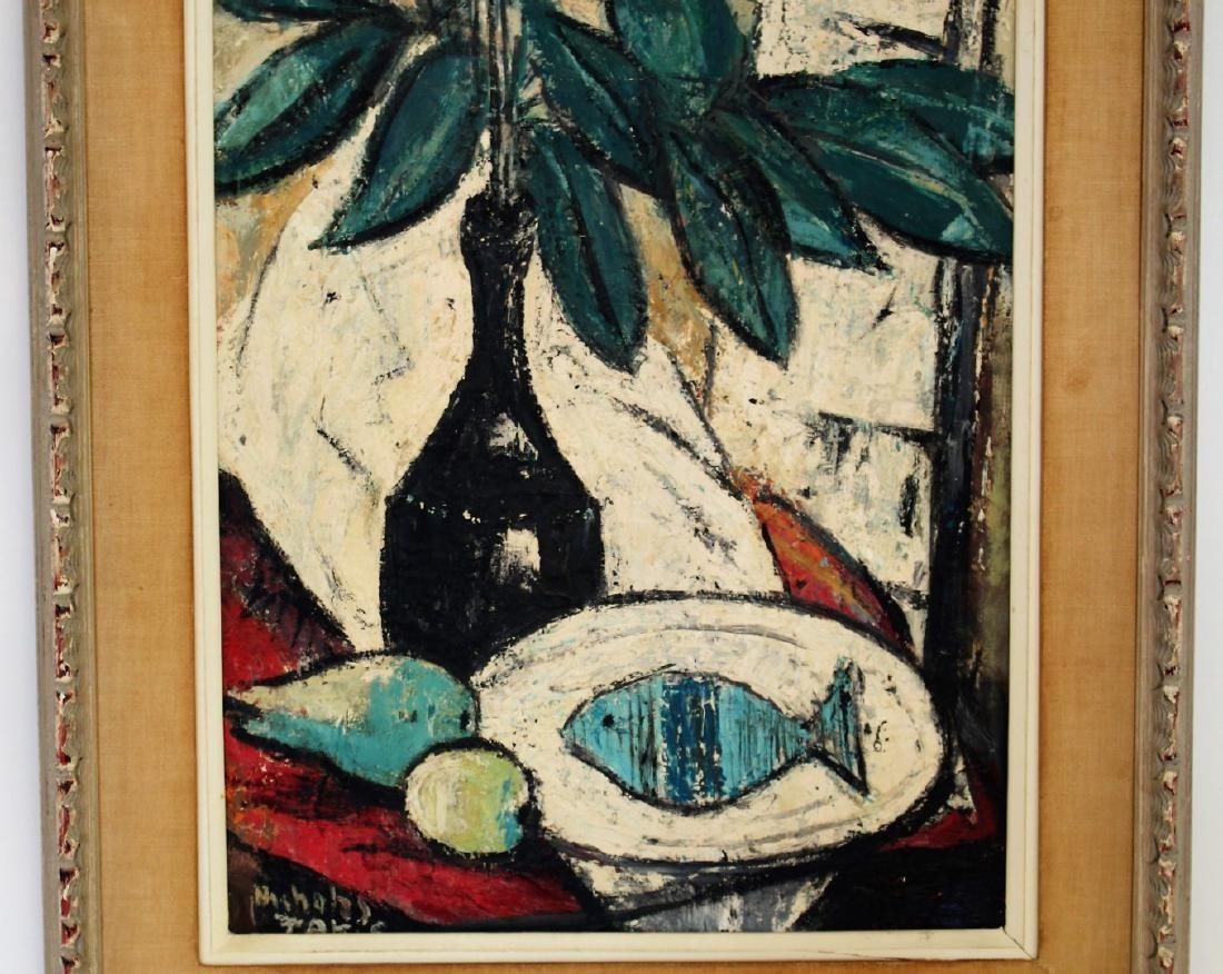 Nicholas Takis; 20thC. Modernist Oil Still Life Signed - 3