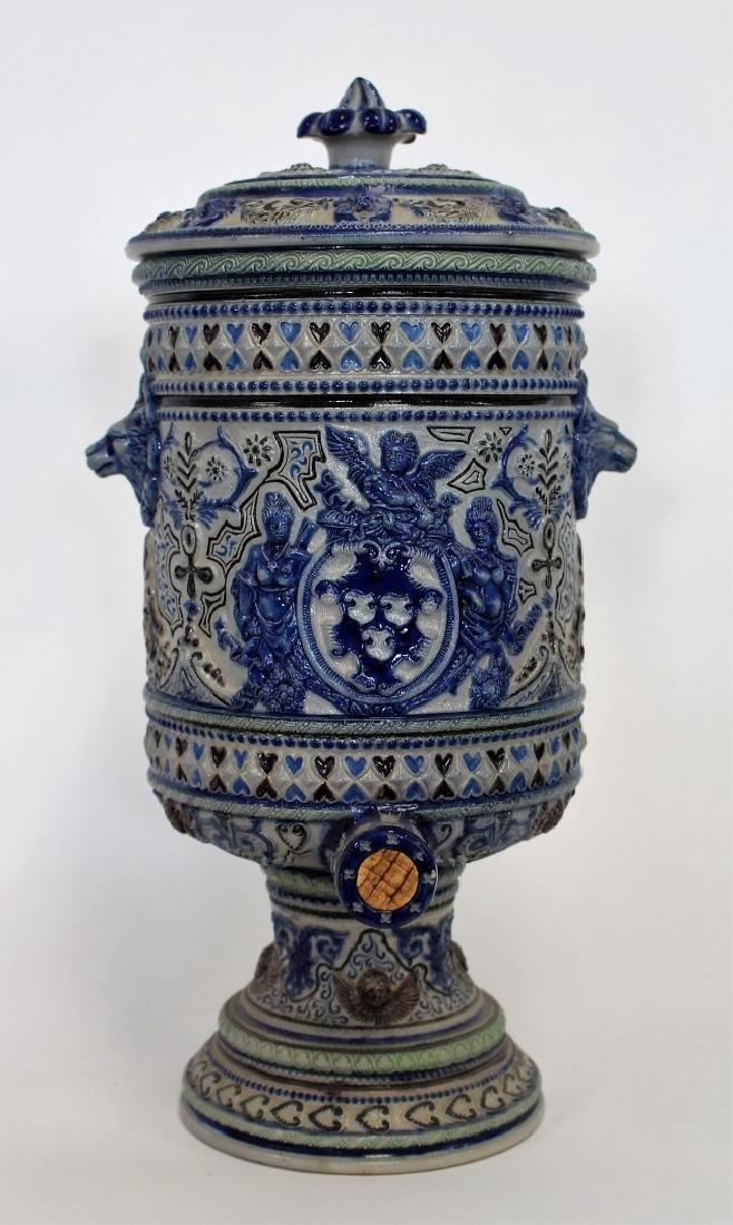 German Stoneware Covered Urn