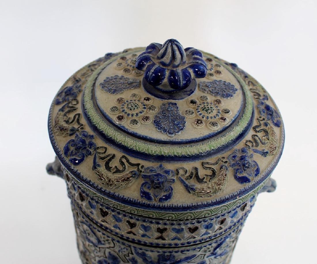 German Stoneware Covered Urn - 4