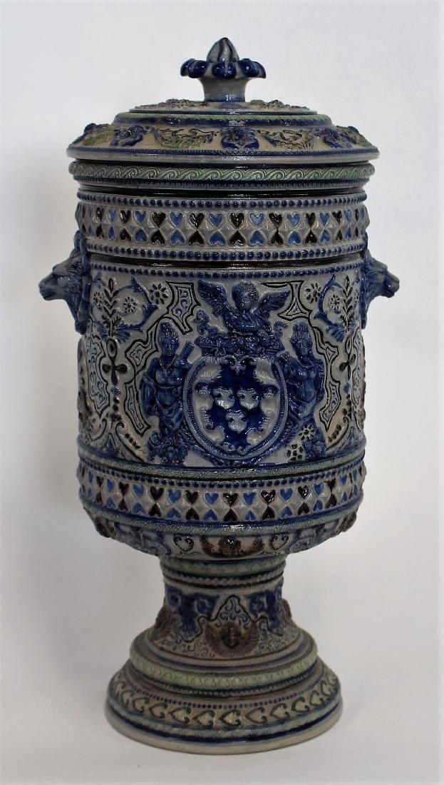 German Stoneware Covered Urn - 6